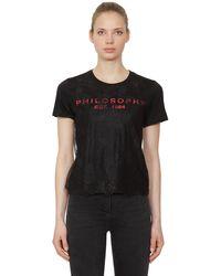 Philosophy Di Lorenzo Serafini コットンジャージー&レース Tシャツ - ブラック