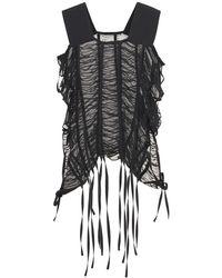 Noir Kei Ninomiya Ruched Georgette Top W/ Ties - Черный
