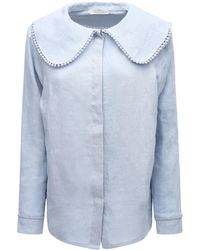 Underprotection Caroline Organic Linen Pajama Shirt - Blue