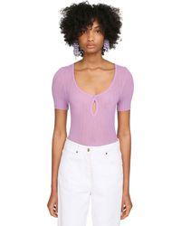 Jacquemus Rib Knit Sheer Top - Purple