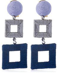 Oscar de la Renta Wrapped Double Square Earrings - Blue