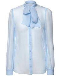 Dolce & Gabbana Рубашка Из Шифона С Бантом - Синий