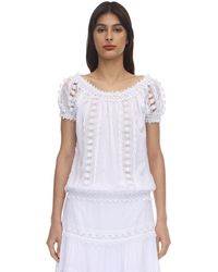 Charo Ruiz Maca Embellished Cotton Lace Top - White