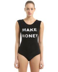 MAKE MONEY NOT FRIENDS Logo Printed Swimsuit - Black