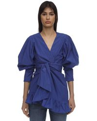 Lug Von Siga Vestito Gessato Con Ruches - Blu