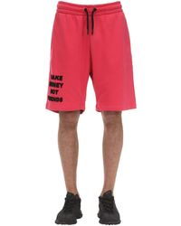 MAKE MONEY NOT FRIENDS Short En Jersey De Coton Avec Logo - Rouge