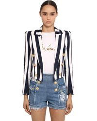 Balmain - Striped Cotton Bolero Jacket - Lyst