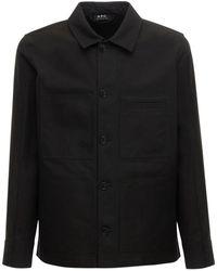 A.P.C. コットンワークシャツジャケット - ブラック