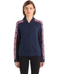 Reebok Cotton Track Jacket With Logo Bands - Blue