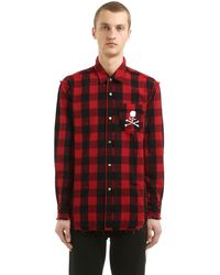 MASTERMIND WORLD Skull Checked Cotton Flannel Shirt - Red
