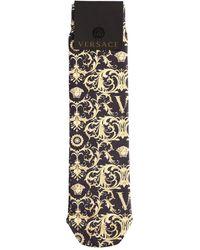 Versace Jacquard Barocco Cotton Socks - Black