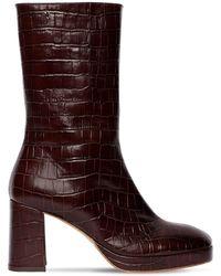 Miista 75mm Carlota Croc Embossed Leather Boot - Brown