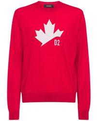 DSquared² Maple Leaf ジャカードウールセーター - レッド