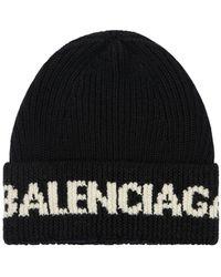 Balenciaga Beaniemütze Aus Wolle Mit Logo - Schwarz