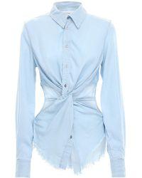 Marques'Almeida Cutout Denim Shirt W / Knot Detail - Blue