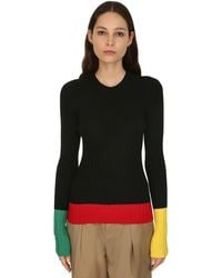 JW Anderson Merino Wool Rib Knit Jumper - Black