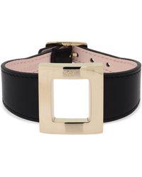 Roger Vivier Leather Bracelet W/ Metal Buckle - Black