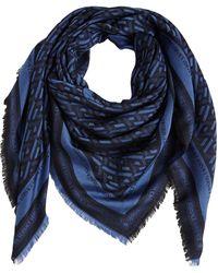 Versace シルク&ウールスカーフ - ブルー
