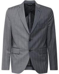 LC23 バイカラーウールジャケット - グレー