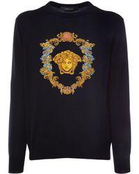 Versace Pullover Mit Medusastickerei - Schwarz