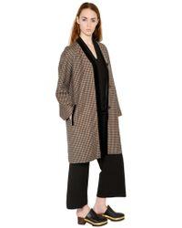 Rosetta Getty | Cappotto In Tweed Di Lana E Velluto | Lyst