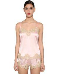 Dolce & Gabbana シルクサテン&レース キャミソール - ピンク