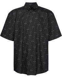 Balenciaga ロゴプリントポプリンシャツ - ブラック