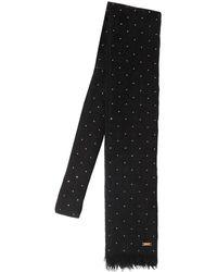 Saint Laurent Small Studded Wool Tie - Black