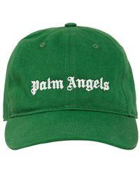 Palm Angels Kappe Aus Baumwollcanvas Mit Logo - Grün
