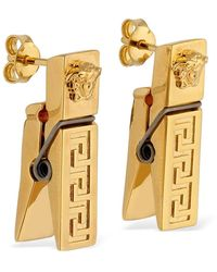 Versace Greek Motif Clothes Peg Earrings - Metallic