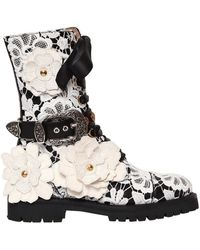 Fausto Puglisi - 30mm Lace & Leather Combat Boots - Lyst