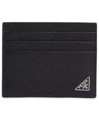 Prada Porte-cartes à plaque logo - Noir