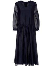 Max Mara Cotton & Silk Organza Long Dress - Blue