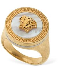 Versace Icon Medusa Ring W/ Mother Of Pearl - Mettallic