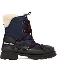 DSquared² 40mm Faux Leather & Denim Hiking Boots - Blue