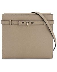 Valextra B-tracollina Grained Leather Bag - Natural