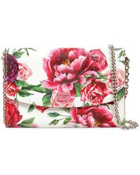 Dolce & Gabbana - Floral Printed Dauphine Leather Clutch - Lyst