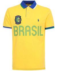 Polo Ralph Lauren Brasil Custom Fit Cotton Piqué Polo - Yellow