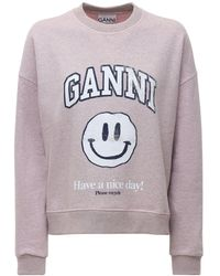 Ganni コットンブレンドフリーススウェットシャツ - ピンク