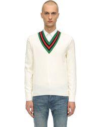 Gucci - ウール ウェブvネックセーター - Lyst