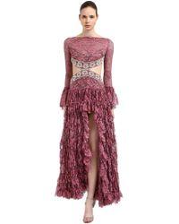 RAISA & VANESSA - Ruffled Cutout Lace Dress - Lyst