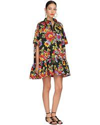 Carolina Herrera Короткое Платье Из Хлопка С Принтом - Черный