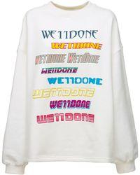 we11done Sweatshirt Aus Baumwollmischung Mit Logodruck - Mehrfarbig