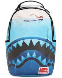 """Sprayground Rucksack Mit Druck """"jaws Shark"""" - Blau"""
