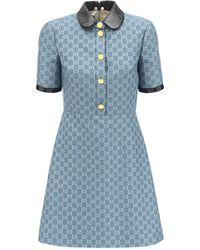 Gucci Gg Wool Lamé Mini Dress W/coated Collar - Blue