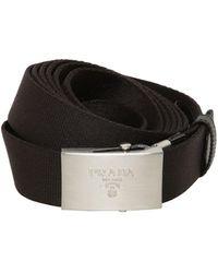 Prada Doble Cinturón De Nylon Con Hebilla De Logo 3.5Cm - Negro