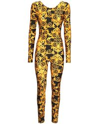 Versace Jeans Couture Jumpsuit Aus Stretch-jersey - Gelb