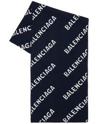 Balenciaga Шарф Из Шерсти С Логотипом - Синий