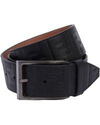 Fendi - 40mm Ff Signature Embossed Leather Belt - Lyst