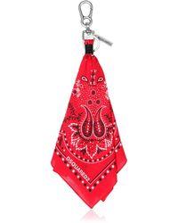 DSquared² Porte-Clefs Bandana En Coton Avec Logo Imprimé - Rouge